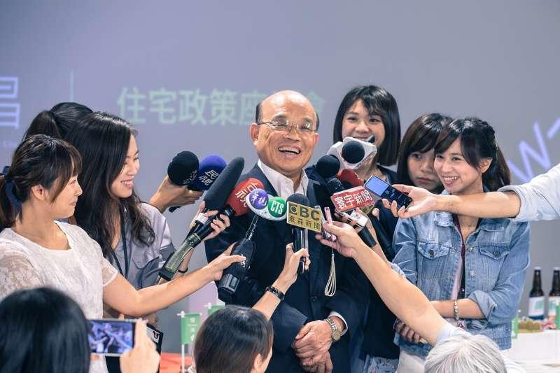 民進黨新北市長參選人蘇貞昌競選總部辦公室被爆料違法使用。蘇今(29)受訪時致歉。(蘇貞昌辦公室提供)