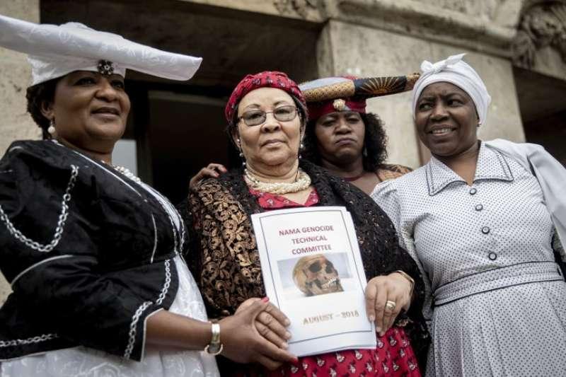 納米比亞運動人士呼籲德國正視殖民時期的暴行。(AP)