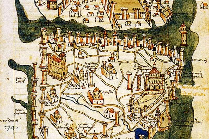 1422年的君士坦丁堡地圖。這是君士坦丁堡現存最老的地圖,也是鄂圖曼帝國帝國攻陷君士坦丁堡之前的唯一一張地圖。(取自維基百科/公有領域)