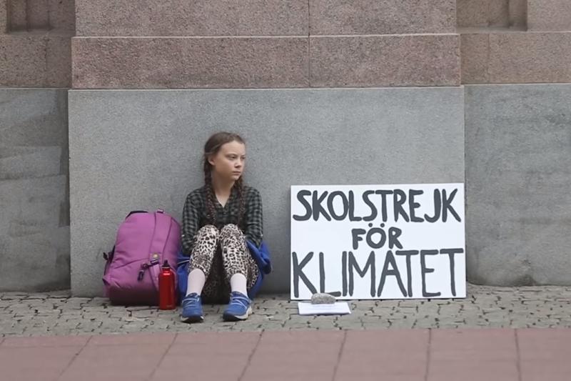 瑞典少女桑伯格(Greta Thunberg)在國會外靜坐抗議,呼籲政府採取行動因應氣候危機。(截自YouTube)