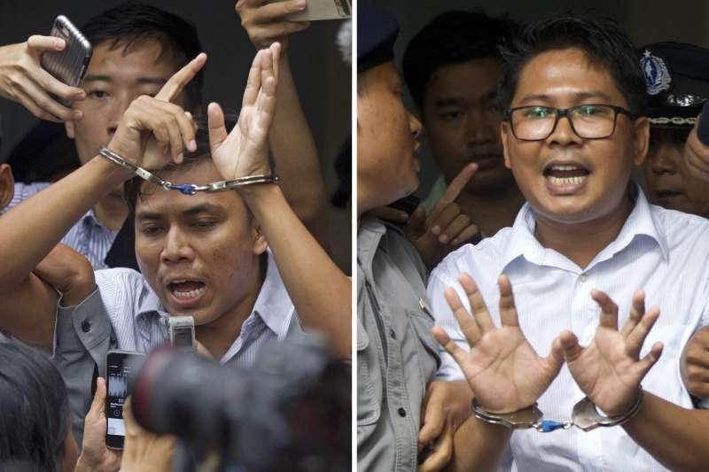 緬甸法院3日宣判,《路透》緬甸記者瓦隆與吳覺梭違反了《政府機密法》,因此判處7年有期徒刑(AP)