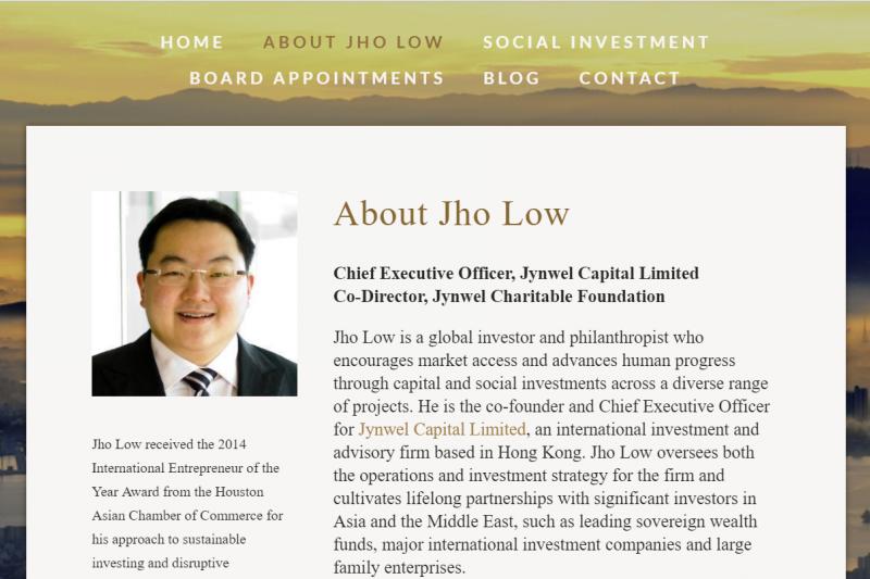 劉特佐涉及一馬基金案被多國追捕,如今行蹤杳然,其官方網站形容他是「一位國際慈善家,投資人及企業家」。(圖片來源:劉特佐個人網站)