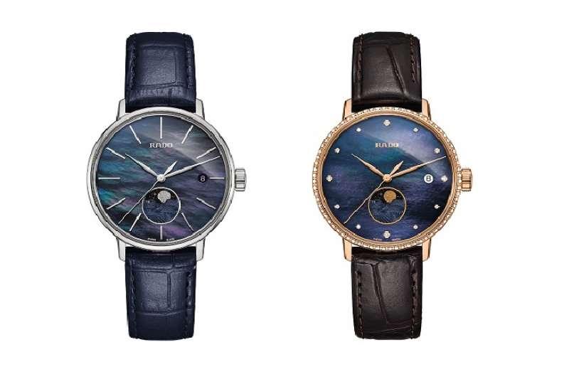 左為,主打款_Rado 瑞士雷達表_COUPLE classic 月相腕錶_藍面皮帶 NTD38,900。右為,Rado 瑞士雷達表_COUPLE classic 月相腕錶_帶鑽藍面皮帶 NTD74,300 。(圖由Rado提供)