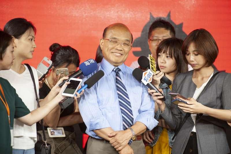 新北市長蘇貞昌下午公布都市更新政策動畫。(蘇貞昌辦公室提供)