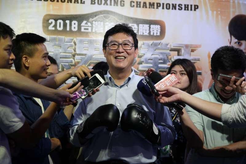 2018年9月6日,民進黨台北市長參選人姚文智出席台灣首場拳王爭霸賽宣傳記者會(姚文智辦公室)