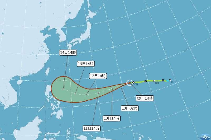 颱風山竹已轉為中颱,最快周二升級為強颱。圖為下午2時山竹最新路徑預報圖。(取自中央氣象局官網)