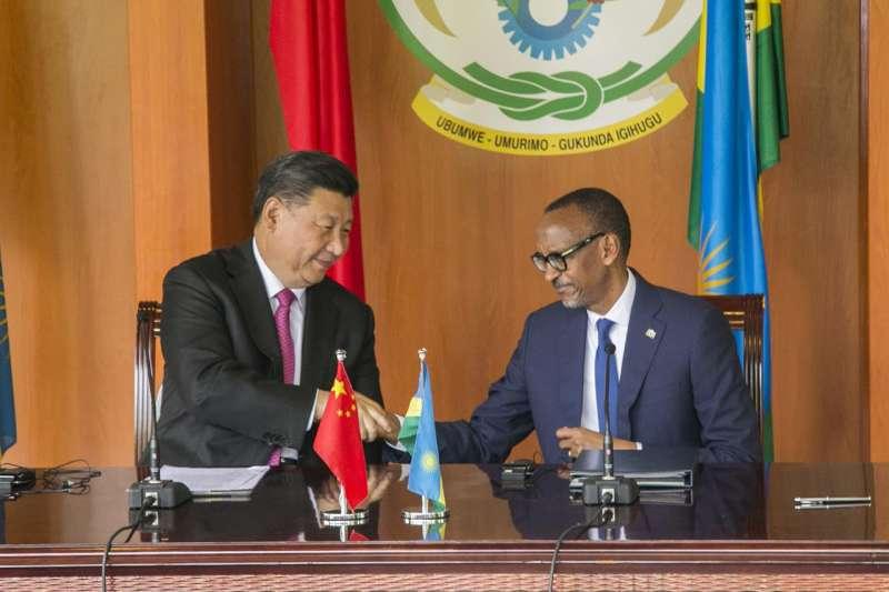 中國國家主席習近平與盧安達總統卡加梅(AP)