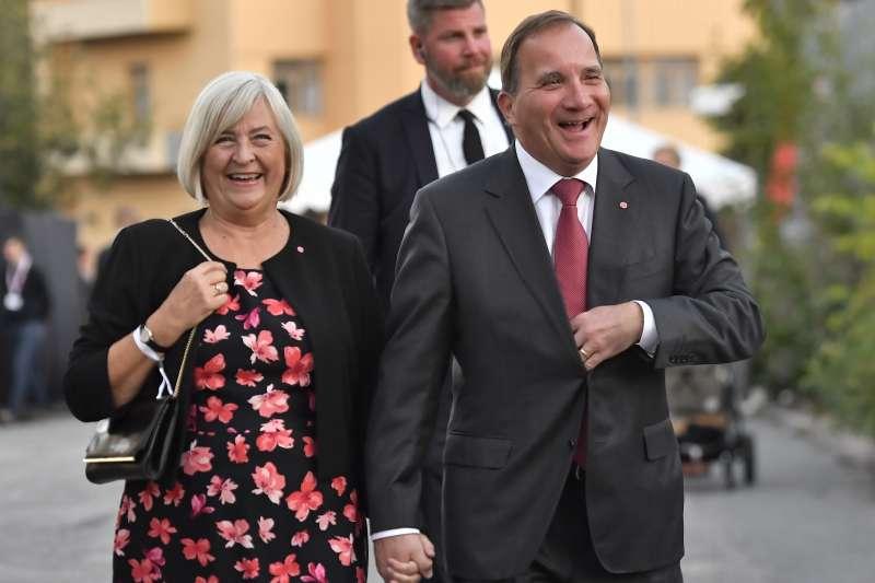 瑞典大選:瑞典總理勒文夫婦(AP)
