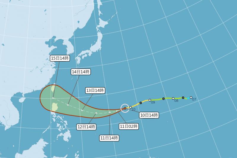氣象局預測,颱風山竹路徑類似過往3個強颱,並從東半部登陸機率最大,提醒民眾留意。(取自氣象局)