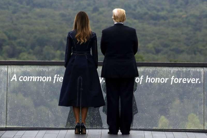 美國紀念911事件17周年:美國總統川普、美國第一夫人梅蘭妮亞。(AP)