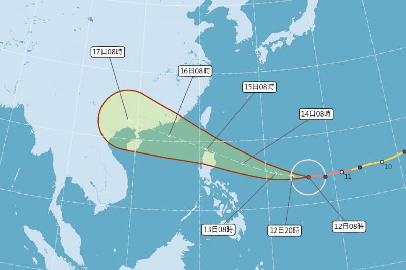 今年第22號颱風「山竹」11日上午已增強為強颱,中央氣象局表示,山竹中心從菲律賓呂宋島的北側近海,往西通過巴士海峽的機率較高,至於對台灣的影響程度,周四的路徑將成為關鍵。(中央氣象局提供)