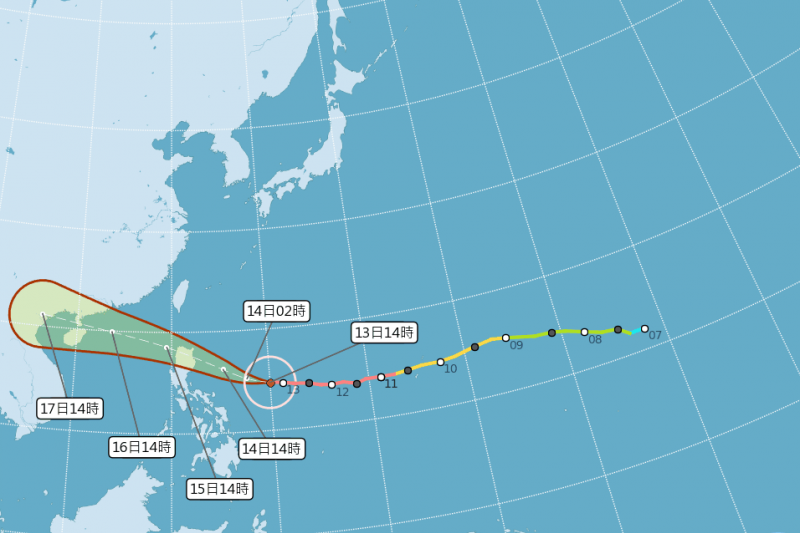 強颱山竹路徑再稍往南修,未來發布海上颱風警報機率降低。圖為下午2時山竹的路徑圖。(圖取自中央氣象局網站 )