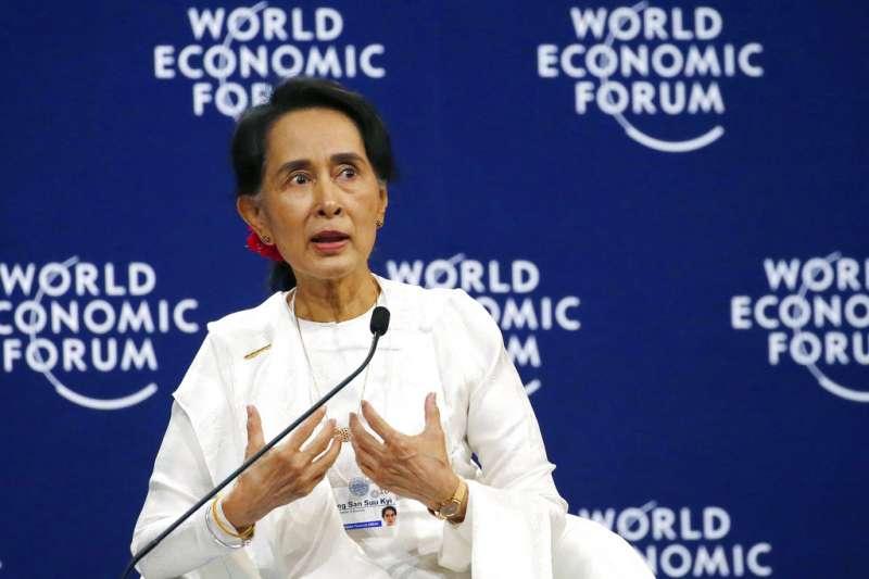 2018年9月13日,緬甸國務資政翁山蘇姬出席世界經濟論壇東協峰會,指《路透》2名記者遭判刑,與言論自由毫無關聯。(美聯社)