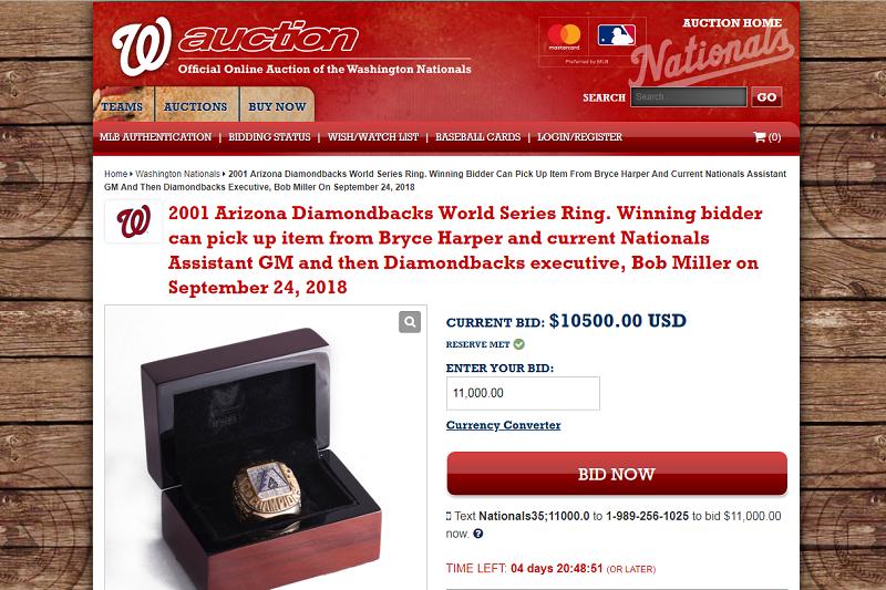 前響尾蛇執行官米勒將2001年世界大賽冠軍戒在網上拍賣,要幫助生病的同事。(截圖自國民官網)