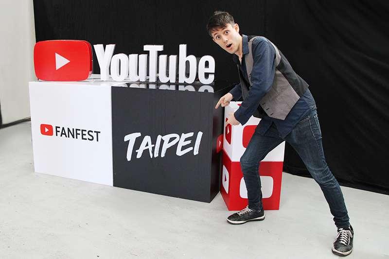 破千萬人追蹤的美國YouTuber庫爾特(Kurt Hugo Schneider)來台灣參加YouTube FanFest(郭丹穎攝)