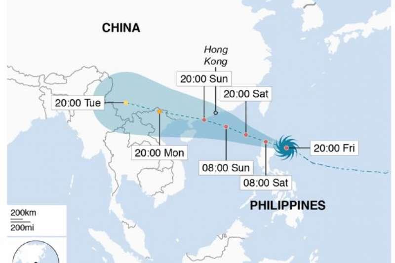 「山竹」前進路線圖預測。(BBC中文網)