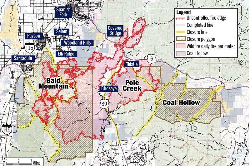 美國猶他州森林大火仍有大面積的火勢尚未獲得控制。 (圖片取自Desert News網站)