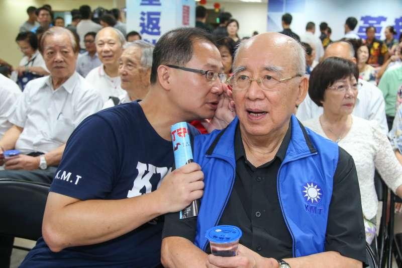 國民黨前主席吳伯雄和兒子吳志揚,出席20180918-台北市市長參選人丁守中客家後援會成立大會。(陳明仁攝)