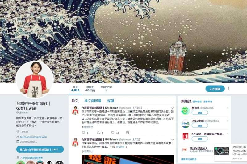 台灣幹得好新聞社至今有超過40萬推特用戶跟隨此帳號。(翻攝自台灣幹得好Twitter)
