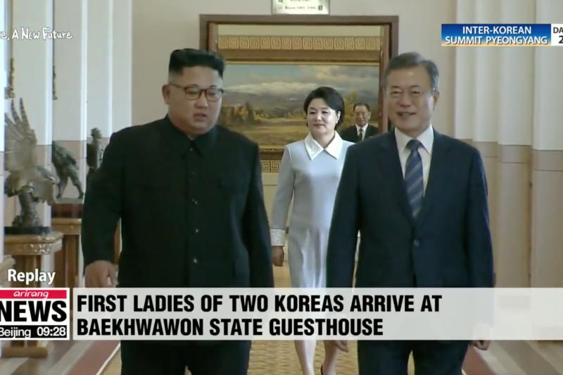 金正恩與文在寅19日上午展開兩韓平壤峰會的第二天行程。