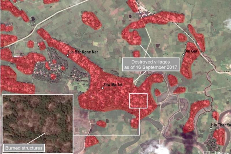 聯合國2017年10月取得的衛星影像圖,顯示有大量的羅興亞人村莊遭毀。(UNHRC)