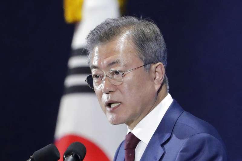 2018年9月20日,南韓總統文在寅結束訪問北韓行程,於首爾召開記者會。(AP)