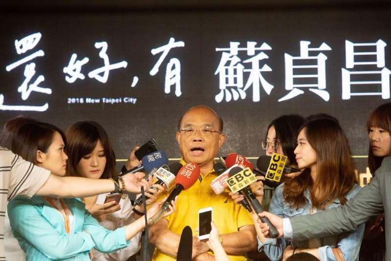民進黨新北市長參選人蘇貞昌20日上午在競選辦公室發布《還好,有蘇貞昌》系列影片。(蘇貞昌辦公室提供)