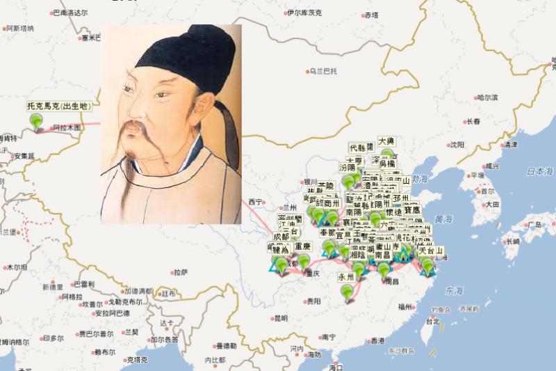 「唐宋文學編年地圖」將文人一生的行跡視覺化,讓你動動滑鼠,就能將詩人的足跡與他當時所創作的作品相互比對。(圖/截自《唐宋文學編年地圖》、維基百科,編輯合成)