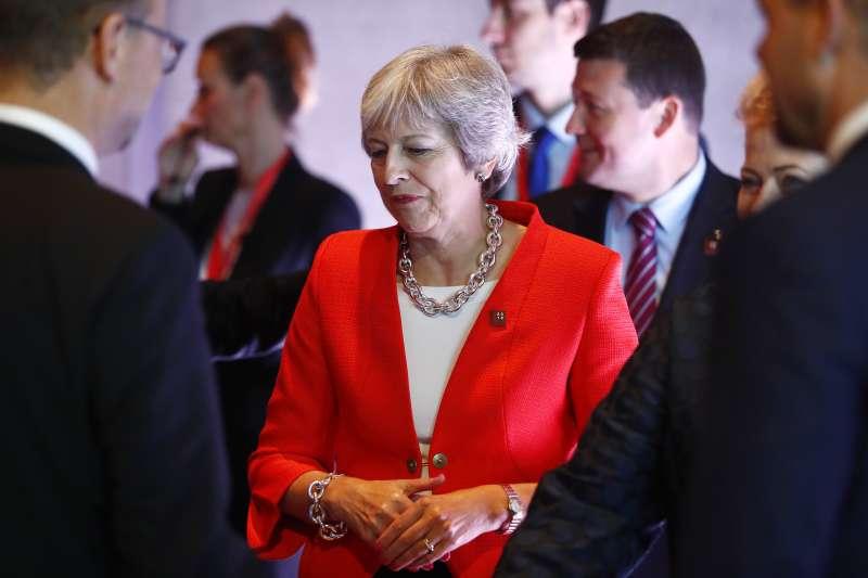 2018年9月20日,英國首相梅伊在奧地利薩爾斯堡參加歐盟成員國領導人峰會(AP)