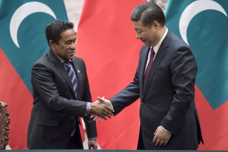 立場親中的馬爾地夫總統雅門與中國國家主席習近平(AP)