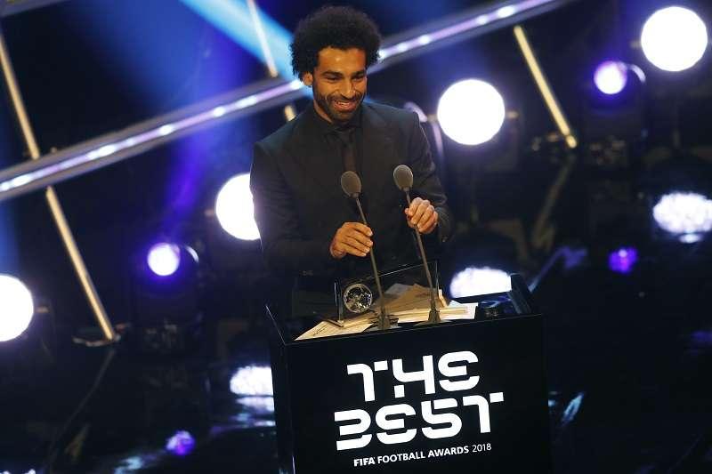 薩拉赫獲得年度最佳進球獎項,卻無緣拿下年度最佳男球員,也沒能入選年度最佳陣容。 (美聯社)