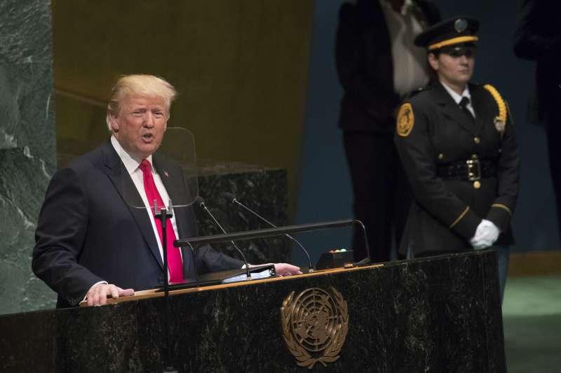 第73屆聯合國大會在紐約的聯合國總部登場,美國總統川普發表演說。(美聯社)