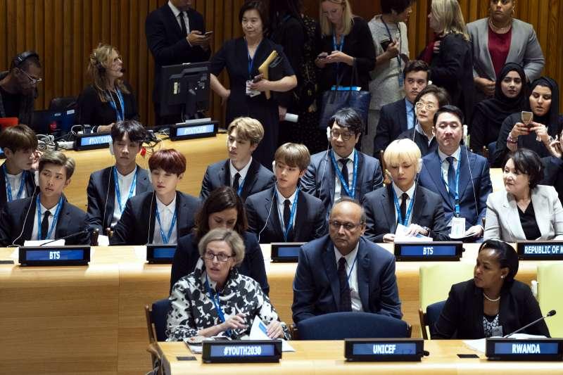 南韓男團「防彈少年團」(BTS)在聯合國演說(AP)
