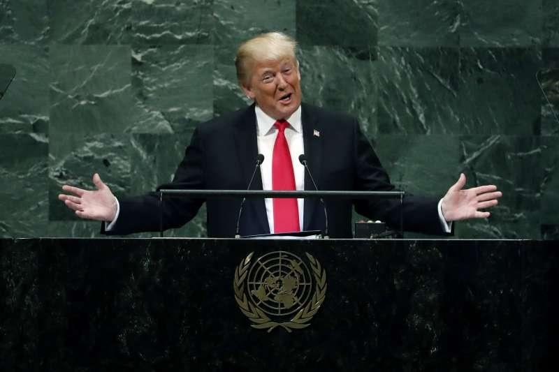 川普在聯合國大會發言。(美聯社)