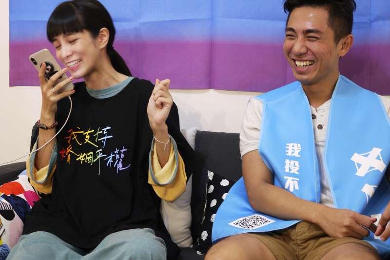 温貞菱在節目中Call Out給大學同學,詳細解說讓對方記住公投內容,並承諾對「愛家公投」投下3個不同意票。(婚姻平權大平台提供)