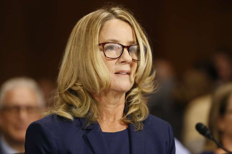 2018年9月27日,準大法官卡瓦諾(Brett Kavanaugh)性侵疑雲,指控者福特(Christine Blasey Ford)出席聯邦參議院聽證會(AP)