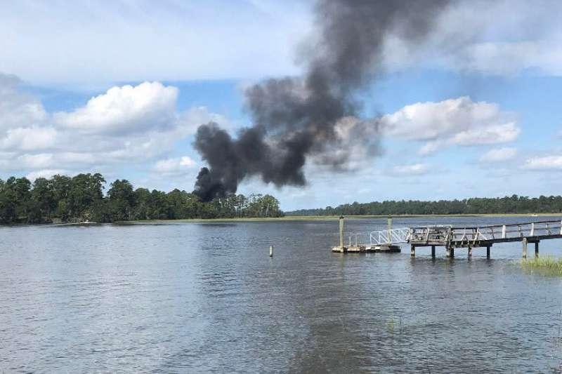 美國陸戰隊一架F-35B戰機28日上午在南卡羅來納州訓練飛行時墜毀。(美聯社)