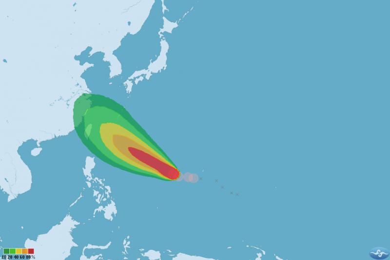 輕度颱風康芮中心位置位於北緯 13.70 度、東經 138.70 度,以每小時13公里速度,向西北進行。(取自中央氣象局)