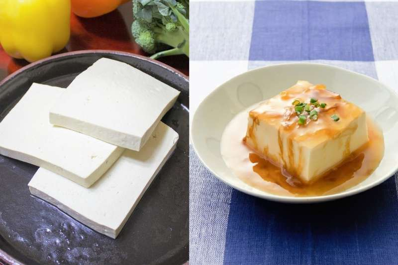 平板豆腐與嫩豆腐營養差異很大,挑選有學問。(圖/圖左取自621hjmit@pixabay、圖右取自すしぱく@pakutaso)