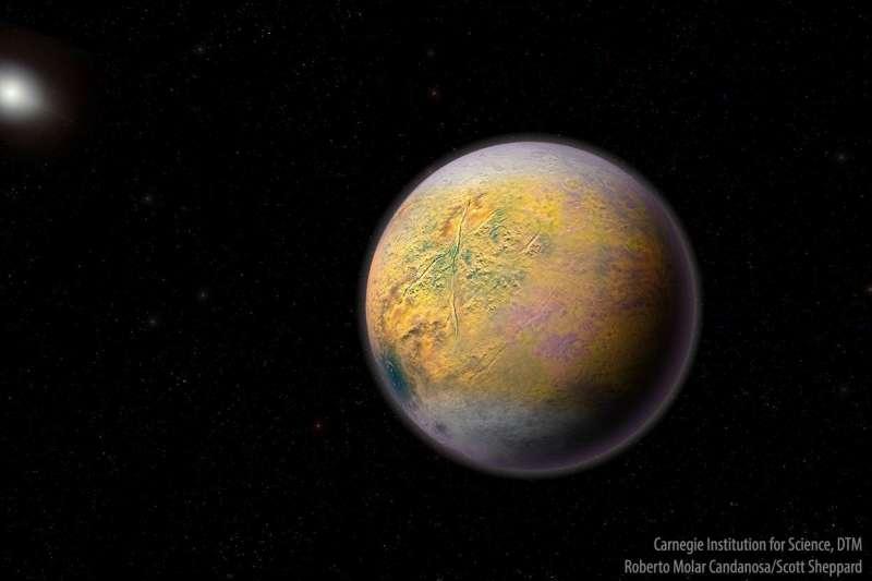 「9號行星」模擬圖。若它真實存在,應是以橢圓形軌道繞行太陽,人類必須以太空望遠鏡觀測,才可能望見它的蹤影。現在,「小精怪」現蹤使科學家們可能接近了這個目標(取自美國卡內基科學研究所)