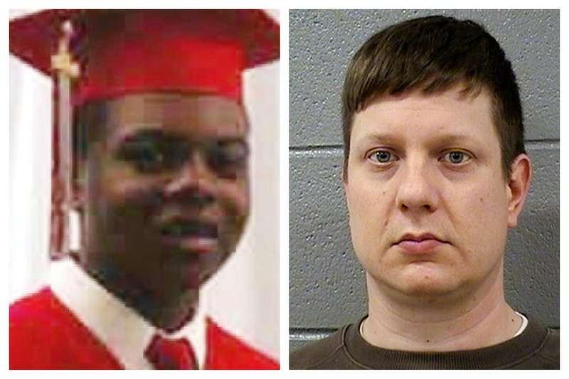 2014年10月20日,美國芝加哥17歲非裔青年麥克唐納(左)遭到白人警察凡戴克(右)槍殺(美聯社)