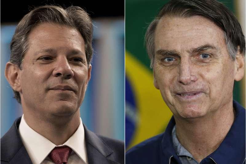 巴西大選:極右派的「巴西川普」博索納羅(右)與左派的哈達德進入決選(AP)
