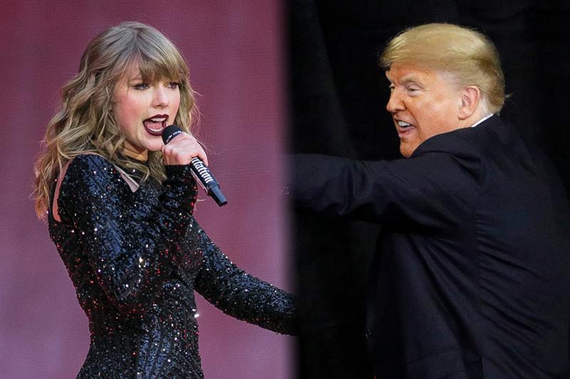 美國流行樂壇天后泰勒絲(左)8日表態將在期中選舉投給民主黨,共和黨籍的美國總統川普(右)反嗆(照片:美聯社;製圖:風傳媒)