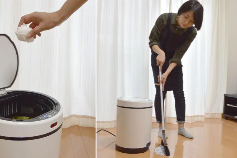 智慧垃圾桶能自動化吸納垃圾,也能在你想丟垃圾時自主開啟桶蓋。(圖/翻攝自 Thanko,智慧機器人網提供)