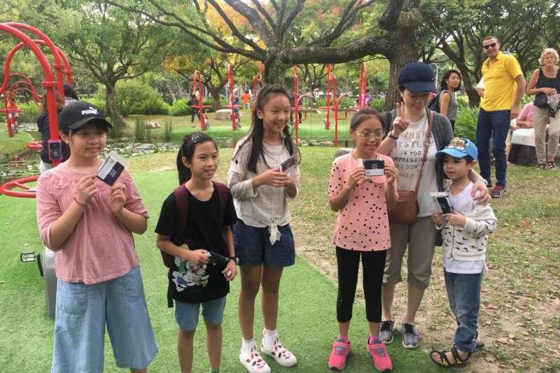 20181009-臺北市政府與大安森林公園之友基金會合作,在大安森林公園設置活水飛輪園區,吸引民眾體驗。