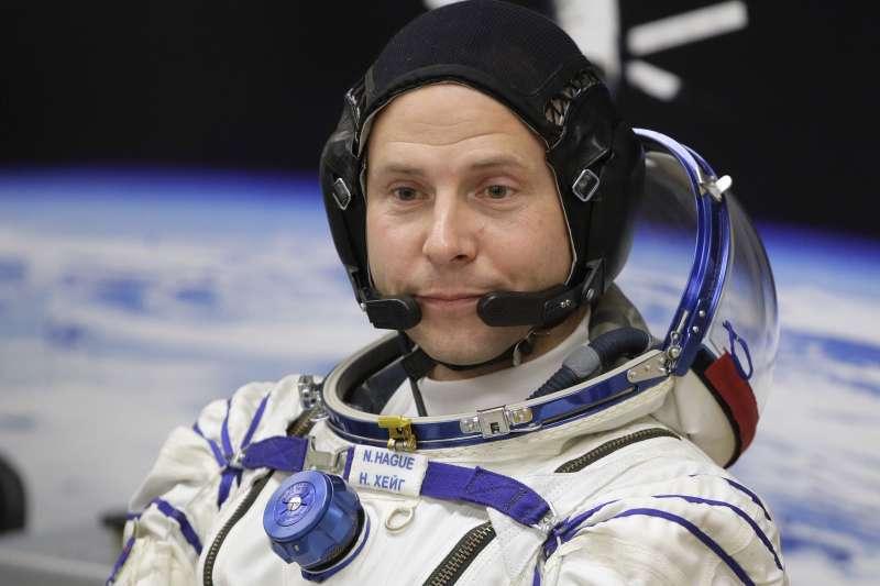 2018年10月11日,美國太空人海格(Nick Hague)搭乘「聯合號」太空船飛往國際太空站(AP)