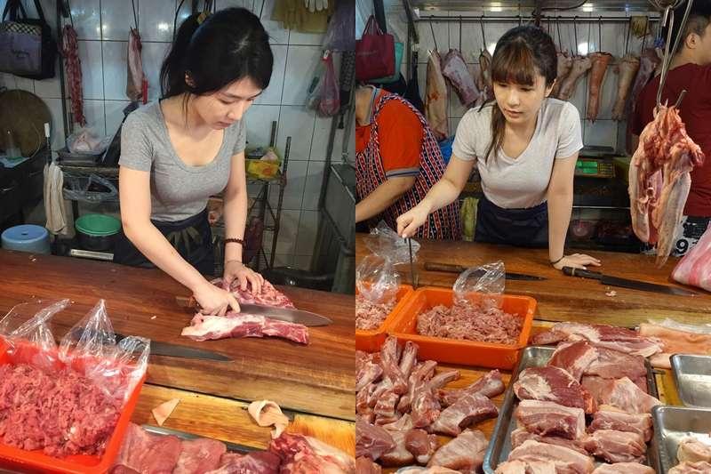 采婕因奶奶身體逐漸老邁,回家扛起祖傳豬肉攤,現在更是知名網路直播主。(圖/春光出版提供)