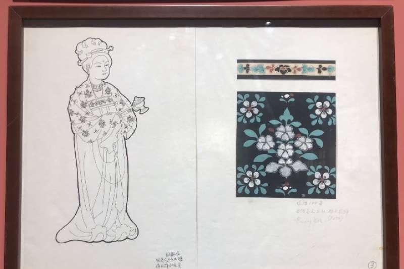 常沙娜從敦煌壁畫供養人服飾上選取的花朵紋樣。(新華社)