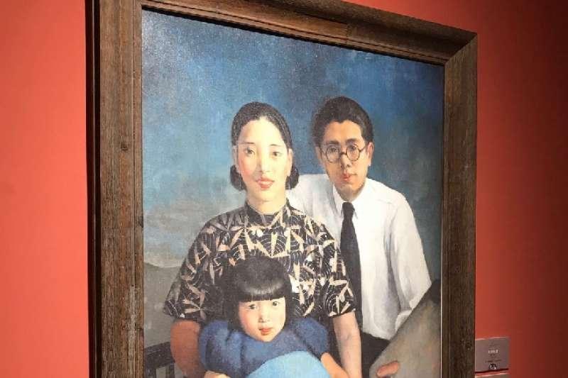 常書鴻在法國創作的油畫《畫家家庭》(複製品)。(新華社)