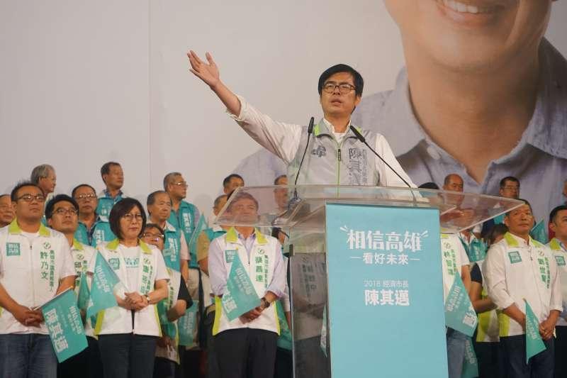 選情告急,民進黨高雄市長參選人陳其邁上周造勢時也開始打出反中牌。(陳其邁總部提供)